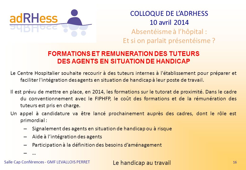 FORMATIONS ET REMUNERATION DES TUTEURS DES AGENTS EN SITUATION DE HANDICAP