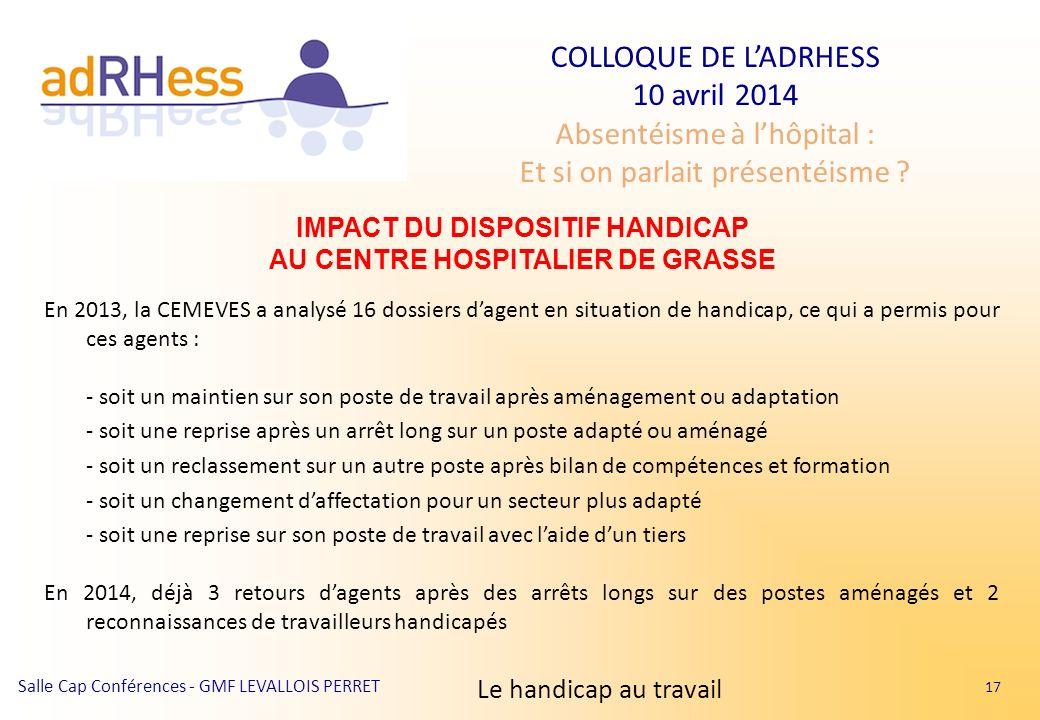 IMPACT DU DISPOSITIF HANDICAP AU CENTRE HOSPITALIER DE GRASSE