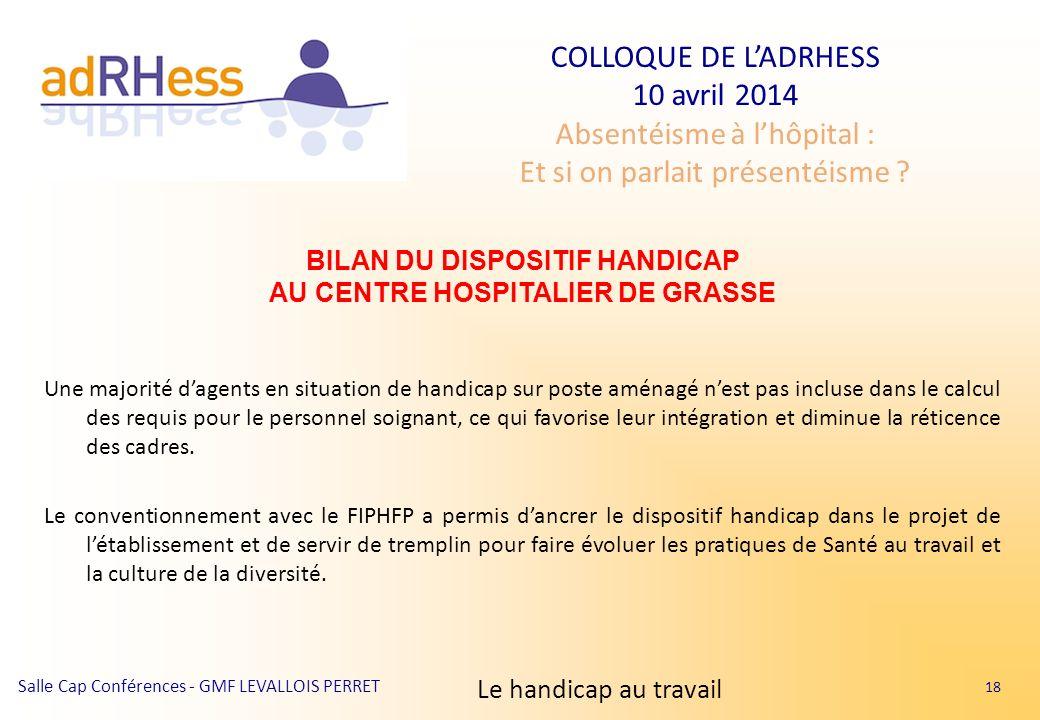BILAN DU DISPOSITIF HANDICAP AU CENTRE HOSPITALIER DE GRASSE