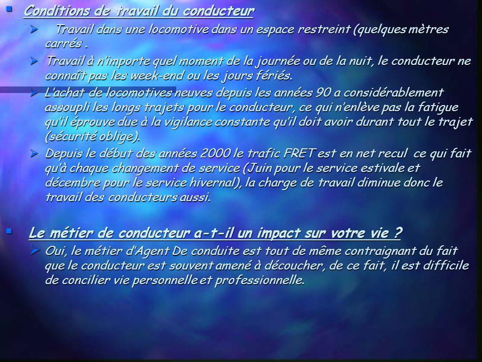 Conditions de travail du conducteur