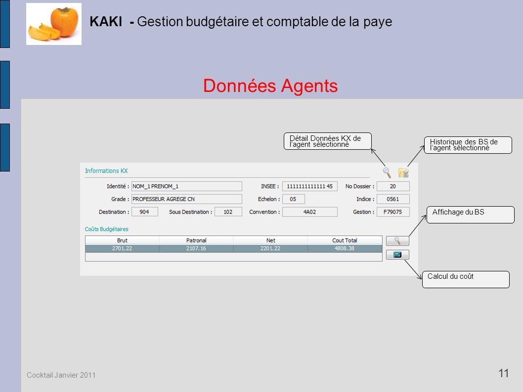 Données Agents KAKI - Gestion budgétaire et comptable de la paye 11