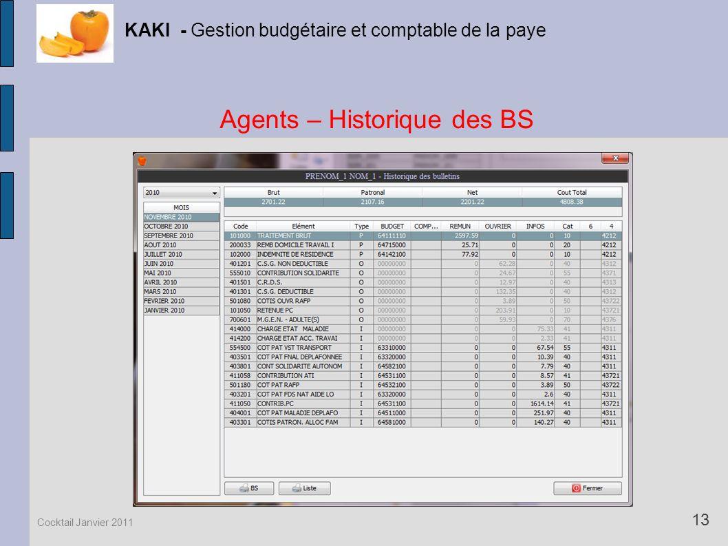 Agents – Historique des BS