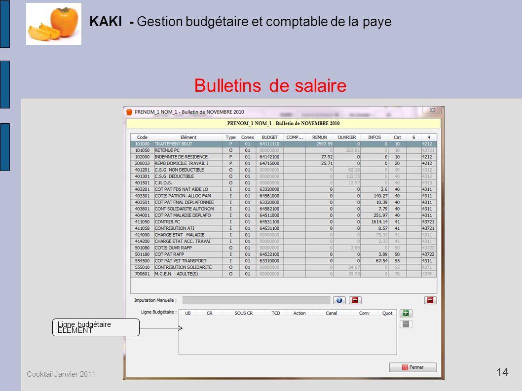 Bulletins de salaire KAKI - Gestion budgétaire et comptable de la paye