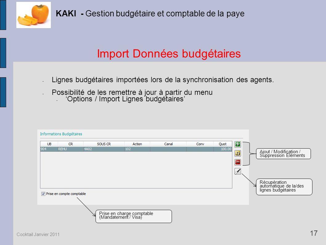 Import Données budgétaires
