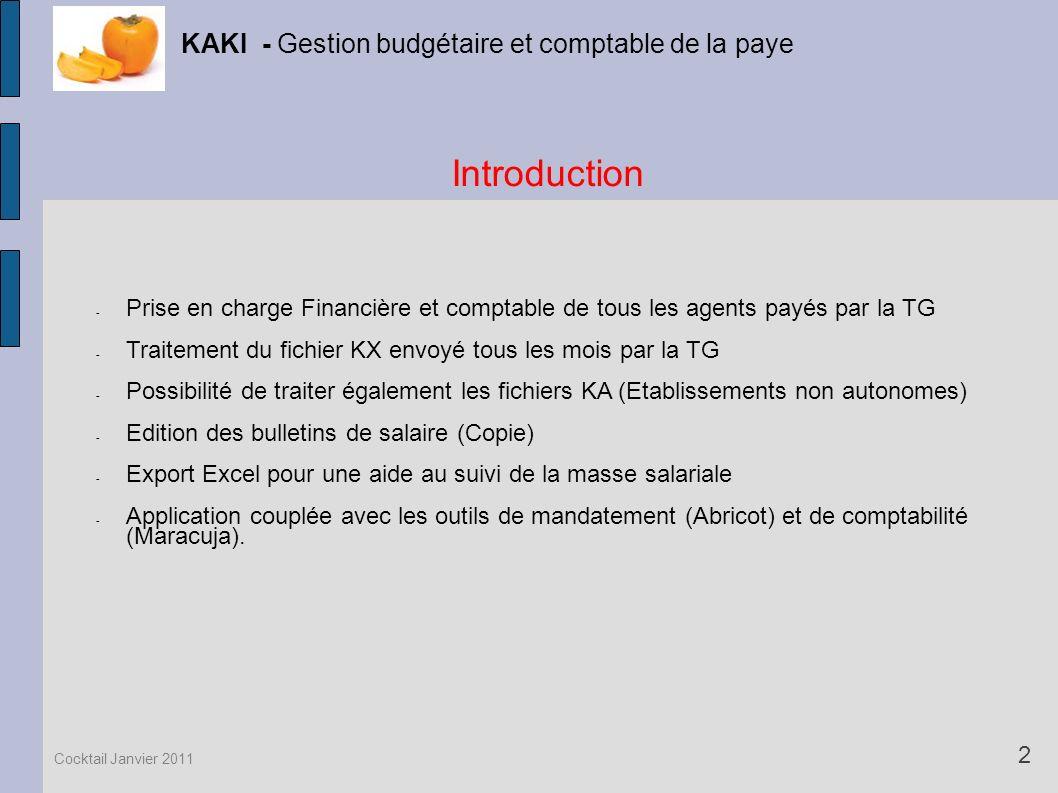 Introduction KAKI - Gestion budgétaire et comptable de la paye