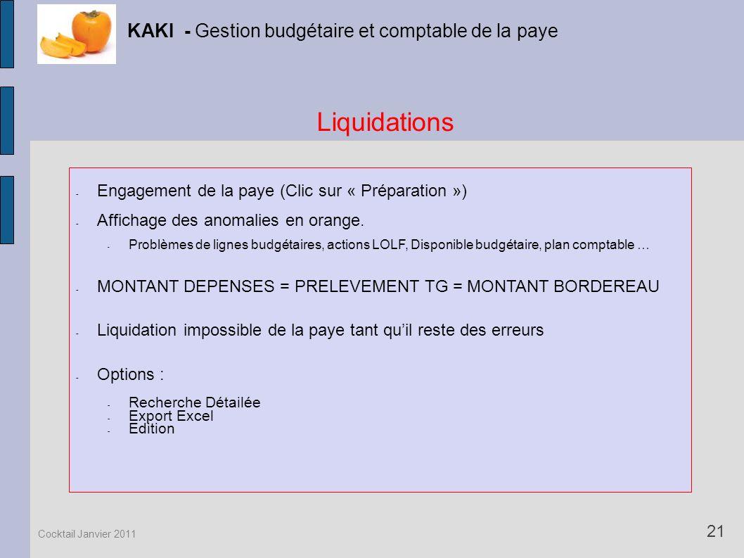 Liquidations KAKI - Gestion budgétaire et comptable de la paye