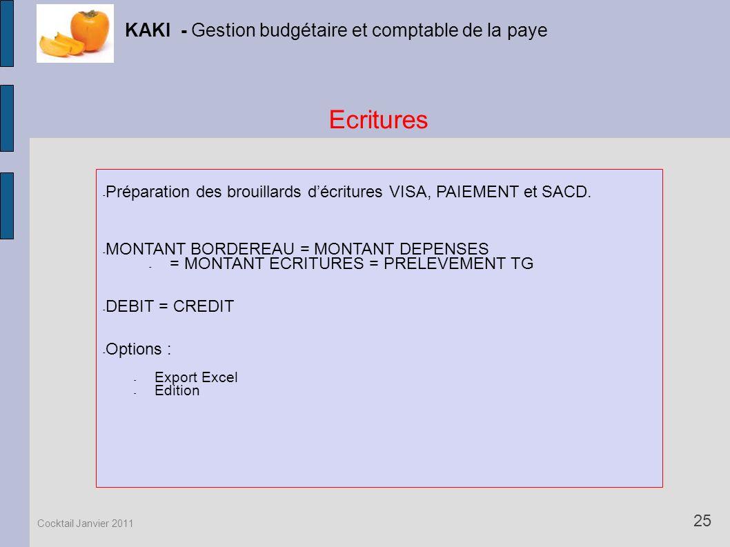 Ecritures KAKI - Gestion budgétaire et comptable de la paye