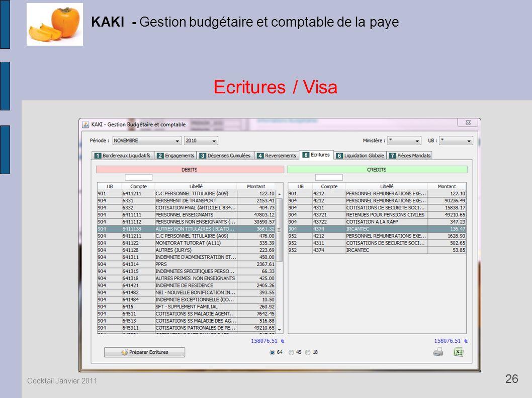 Ecritures / Visa KAKI - Gestion budgétaire et comptable de la paye 26