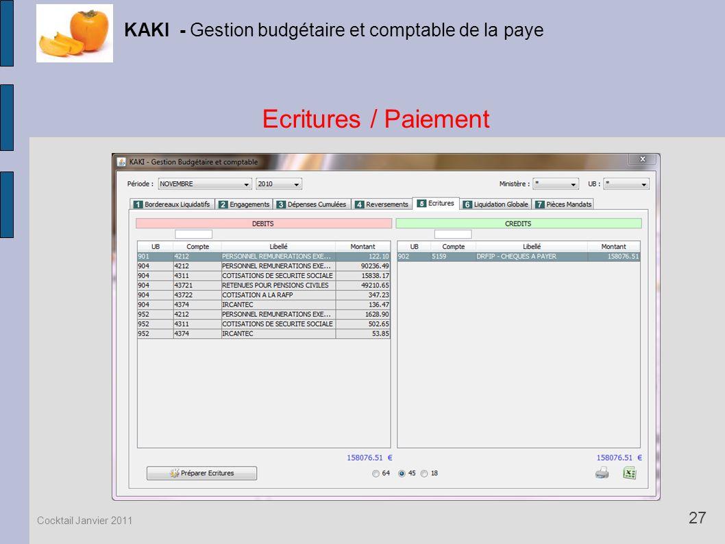 Ecritures / Paiement KAKI - Gestion budgétaire et comptable de la paye