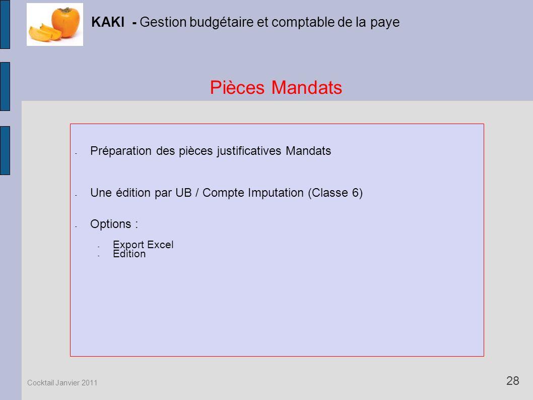Pièces Mandats KAKI - Gestion budgétaire et comptable de la paye
