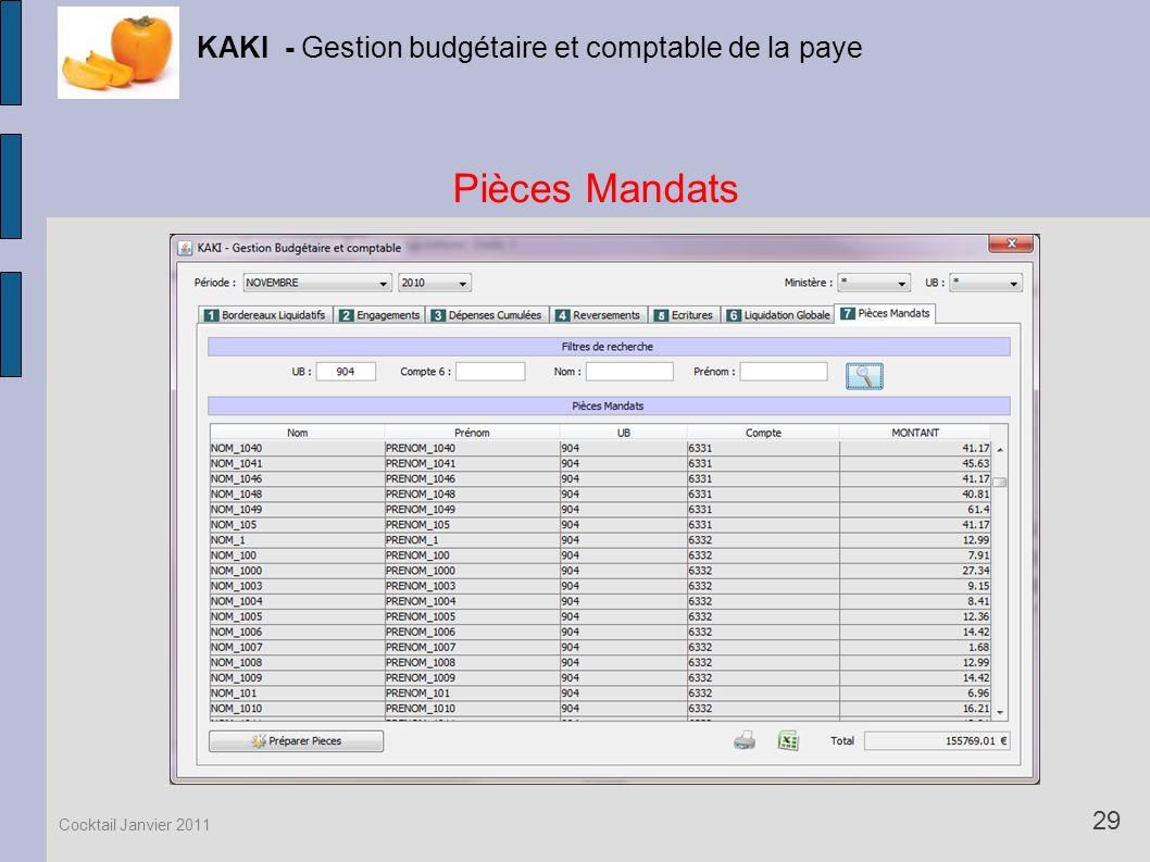 Pièces Mandats KAKI - Gestion budgétaire et comptable de la paye 29