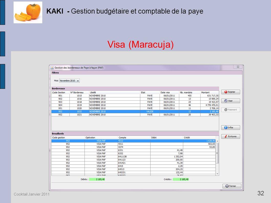 Visa (Maracuja) KAKI - Gestion budgétaire et comptable de la paye 32