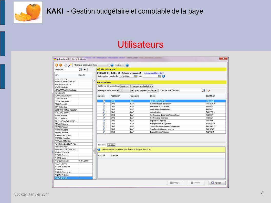 Utilisateurs KAKI - Gestion budgétaire et comptable de la paye 4