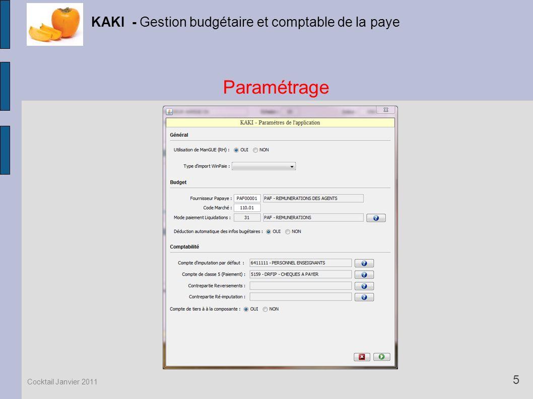 Paramétrage KAKI - Gestion budgétaire et comptable de la paye 5