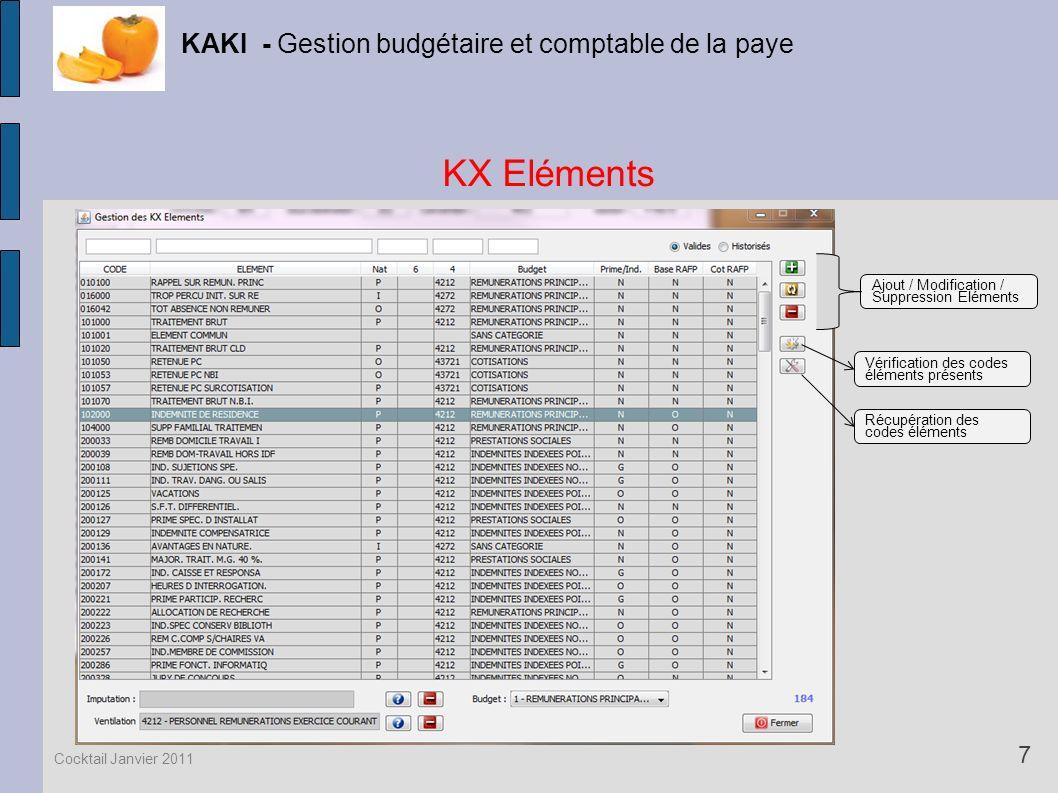 KX Eléments KAKI - Gestion budgétaire et comptable de la paye 7