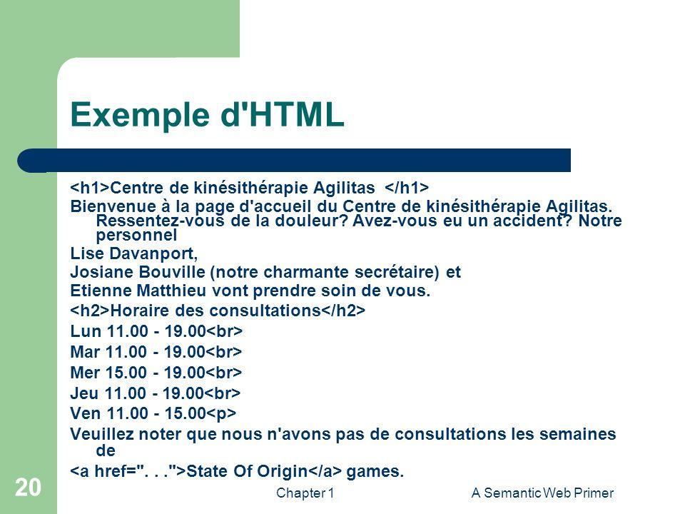 Exemple d HTML <h1>Centre de kinésithérapie Agilitas </h1>