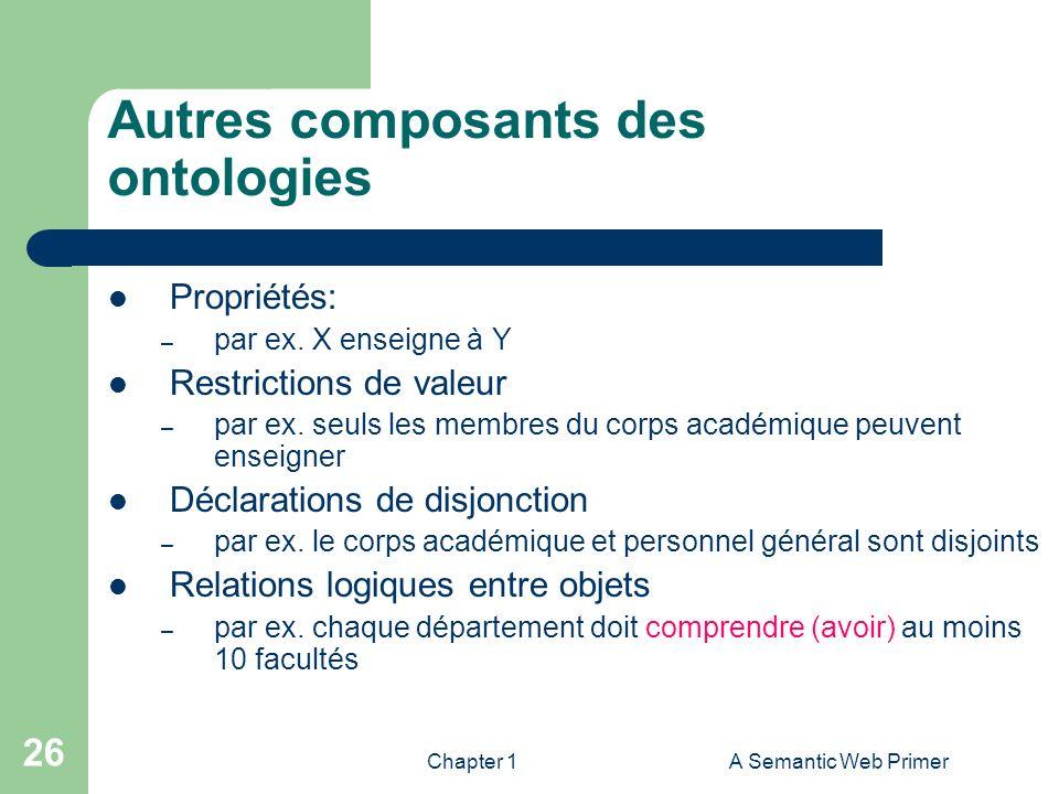 Autres composants des ontologies