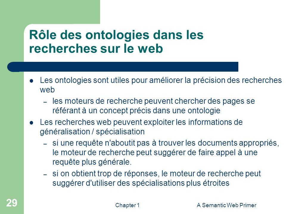 Rôle des ontologies dans les recherches sur le web
