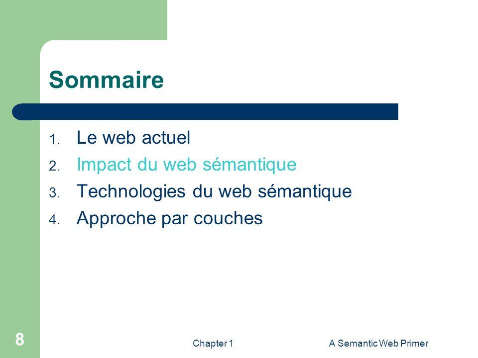 Sommaire Le web actuel Impact du web sémantique