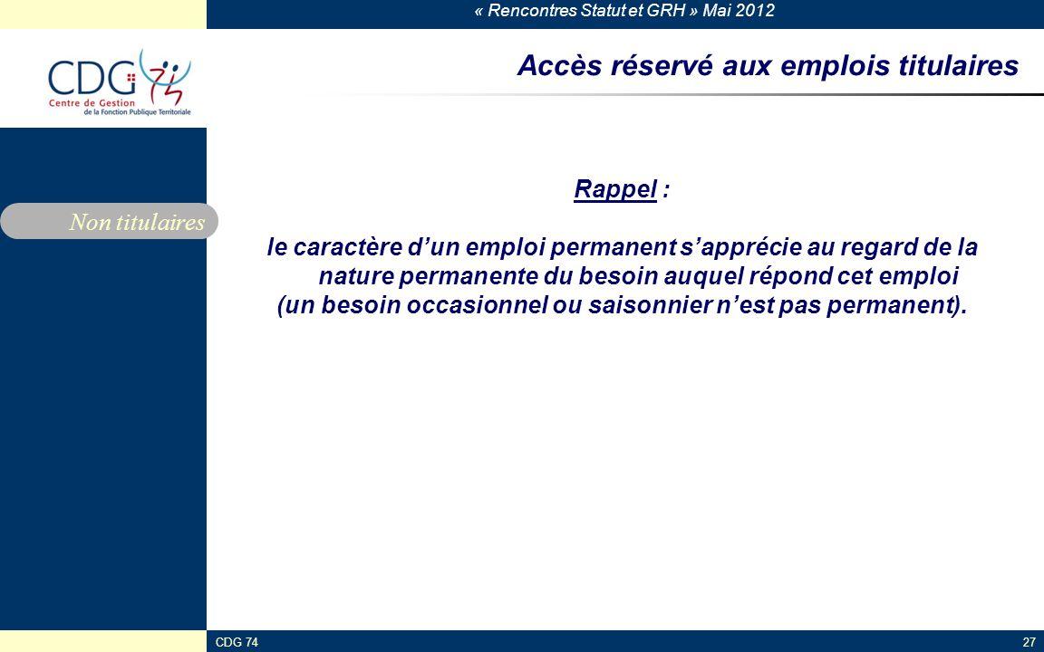 Accès réservé aux emplois titulaires