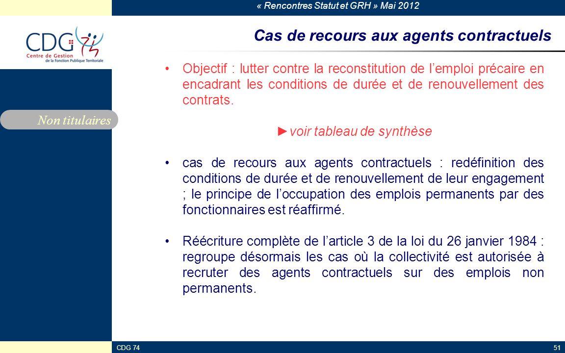 Cas de recours aux agents contractuels
