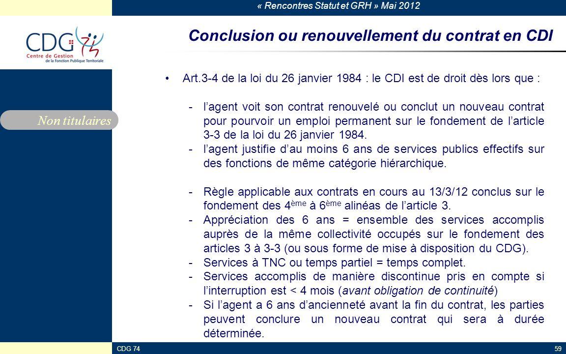 Conclusion ou renouvellement du contrat en CDI
