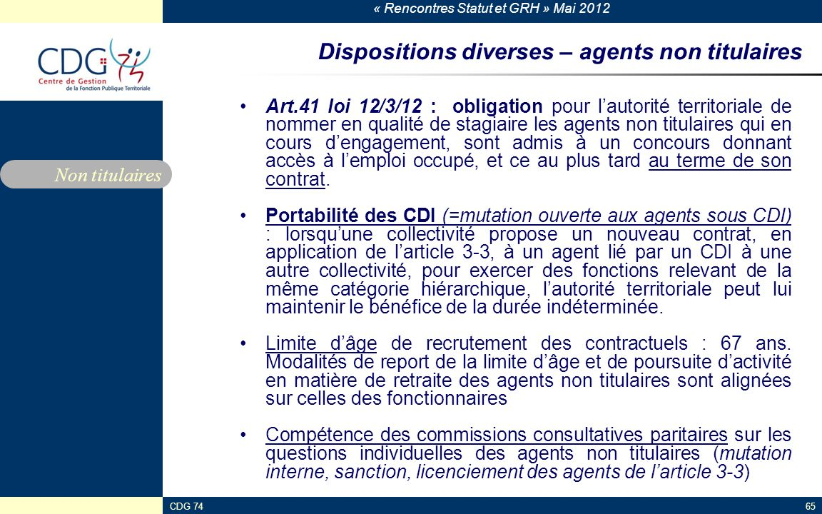 Dispositions diverses – agents non titulaires