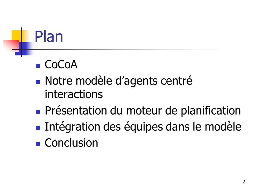 Plan CoCoA Notre modèle d'agents centré interactions