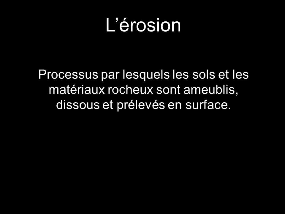 L'érosion Processus par lesquels les sols et les matériaux rocheux sont ameublis, dissous et prélevés en surface.