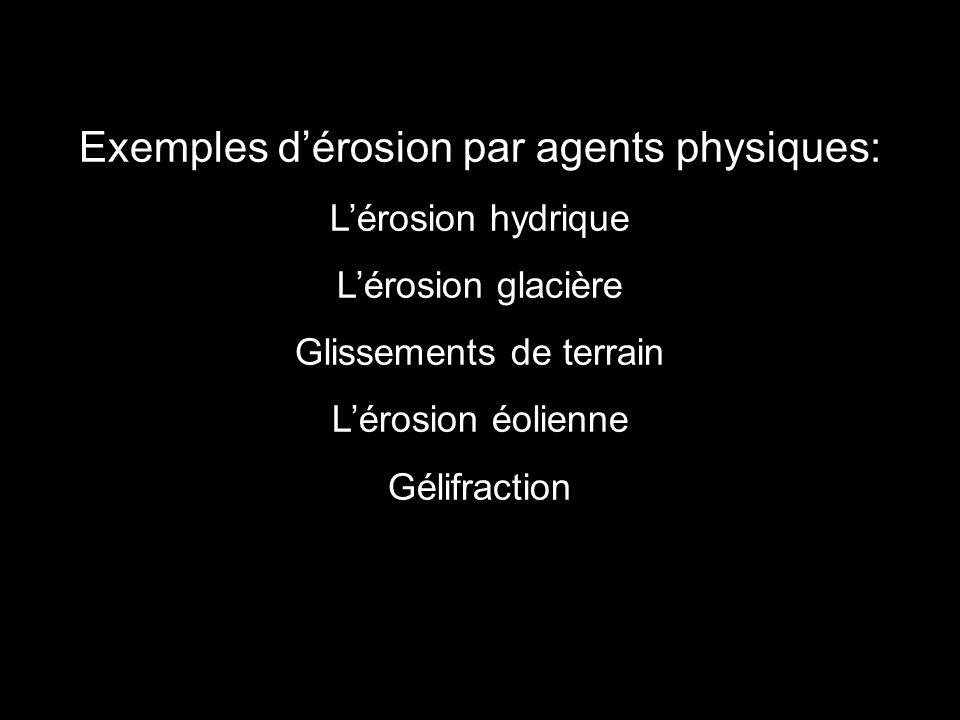 Exemples d'érosion par agents physiques: