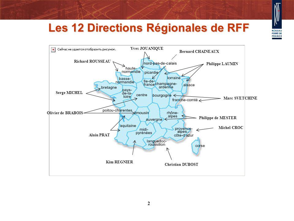 Les 12 Directions Régionales de RFF