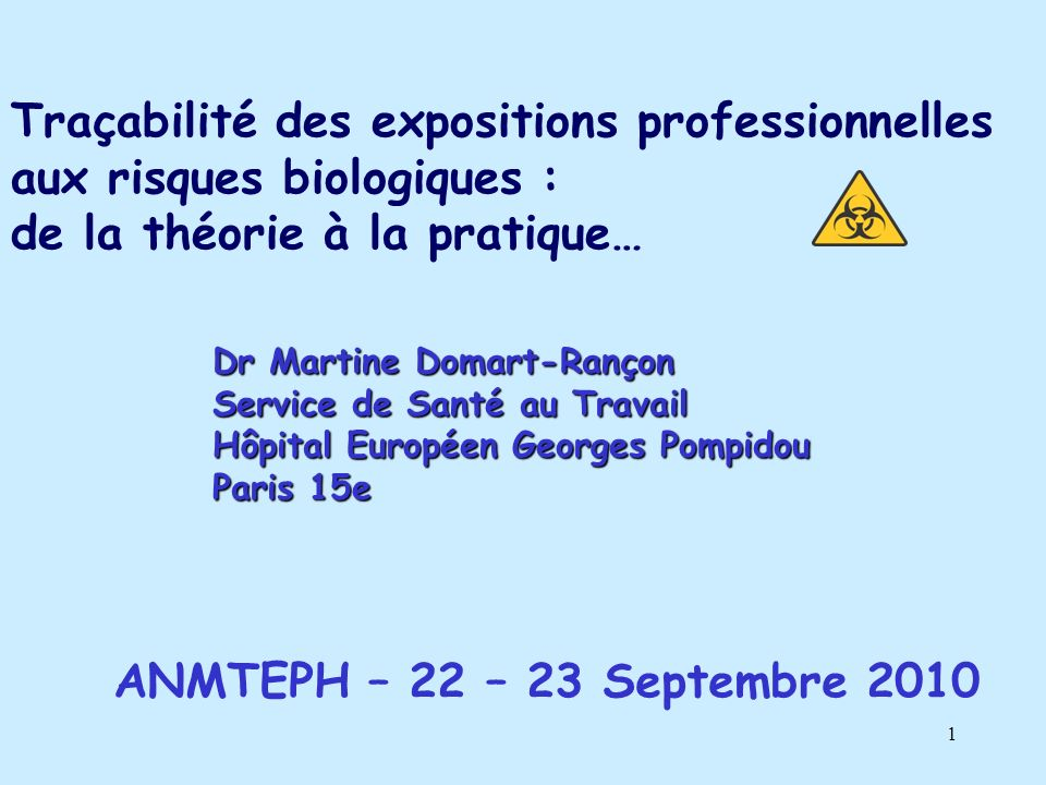 Traçabilité des expositions professionnelles aux risques biologiques :