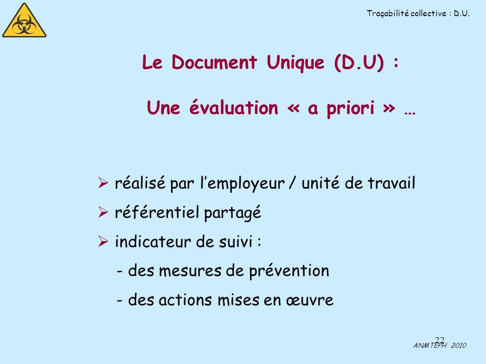 Le Document Unique (D.U) :