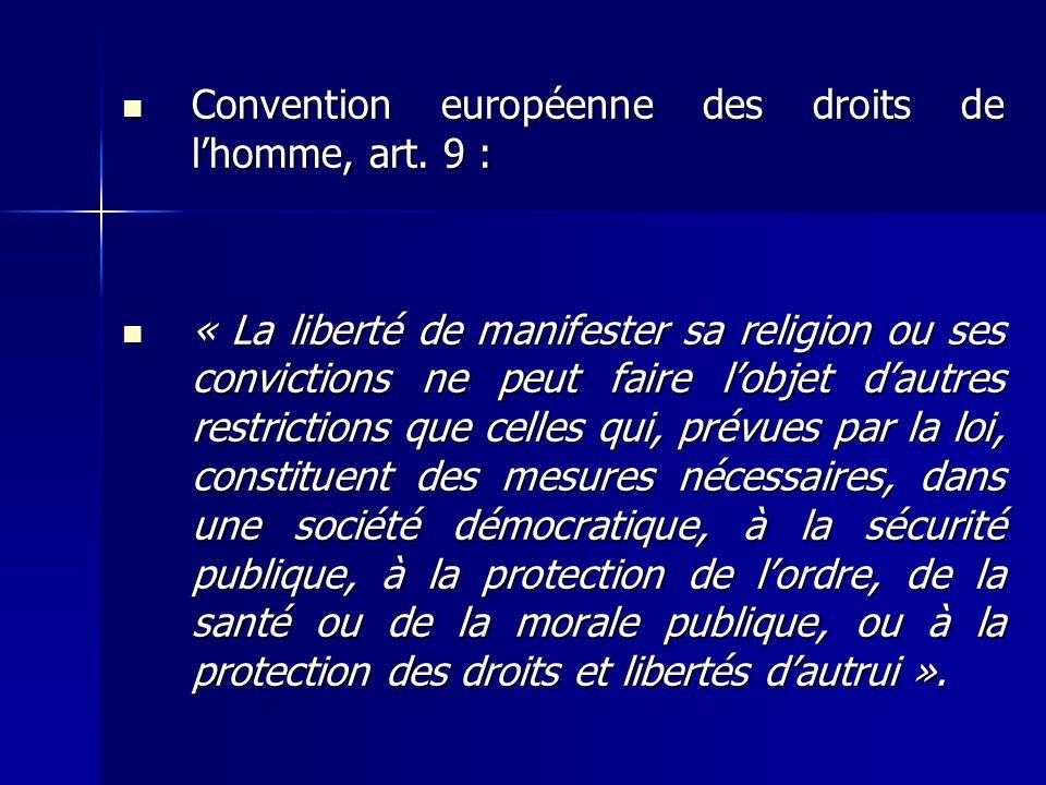 Convention européenne des droits de l'homme, art. 9 :
