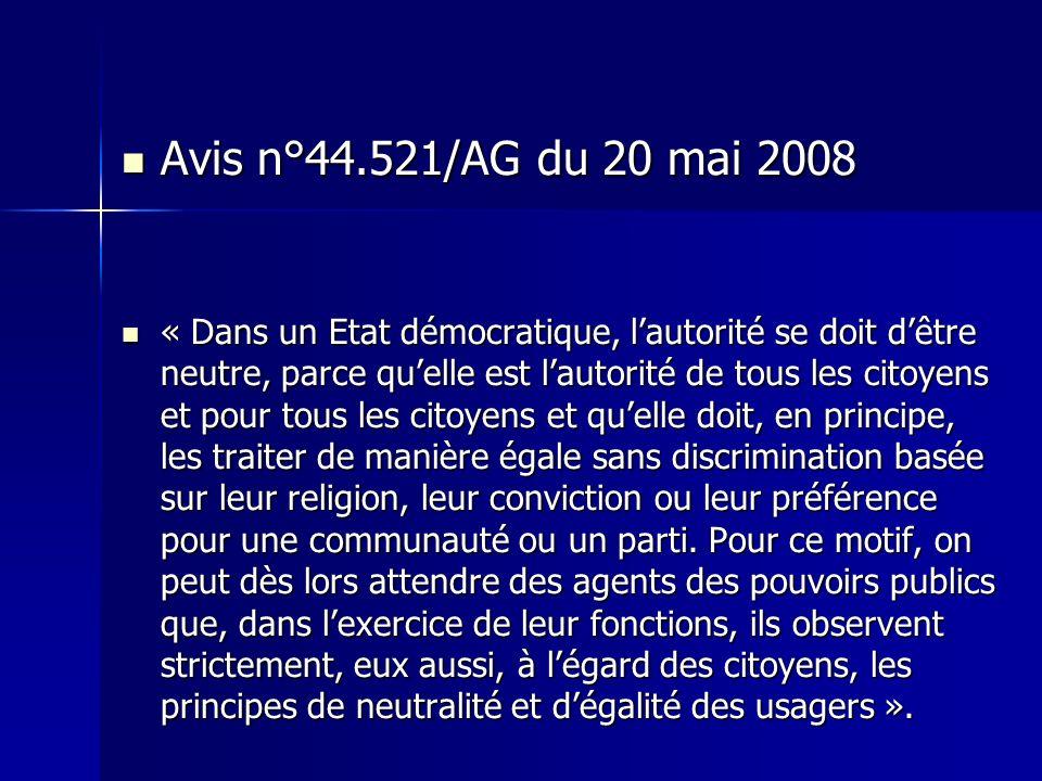 Avis n°44.521/AG du 20 mai 2008