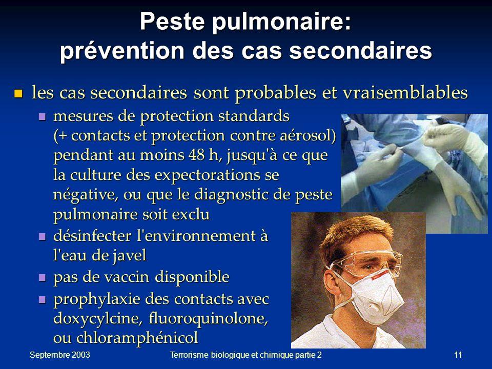 Peste pulmonaire: prévention des cas secondaires