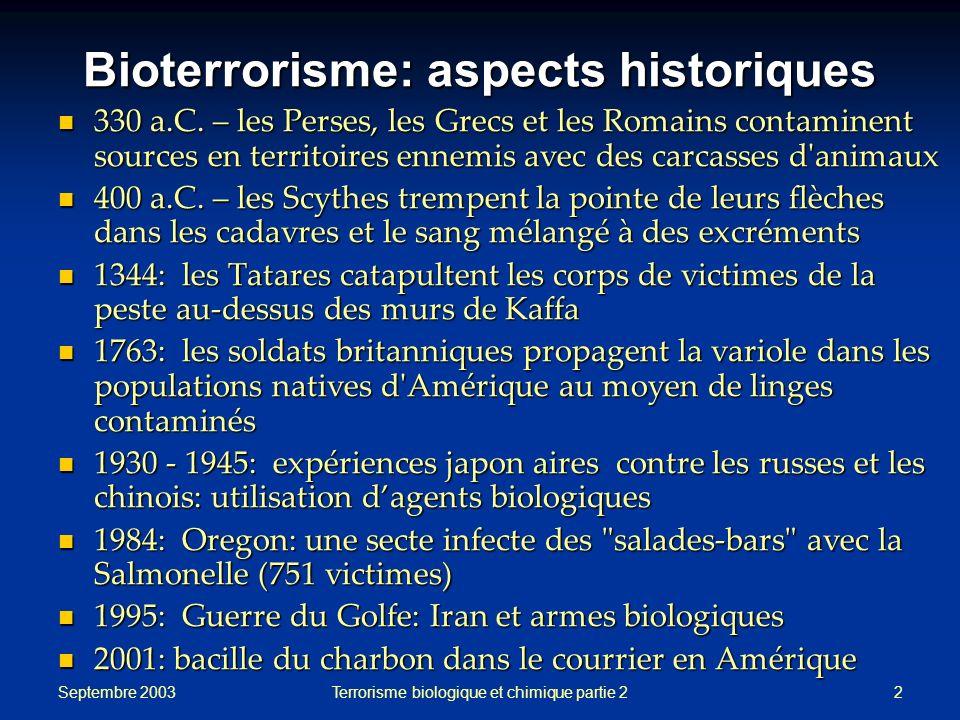 Bioterrorisme: aspects historiques