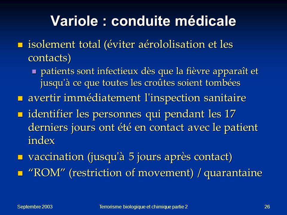 Variole : conduite médicale