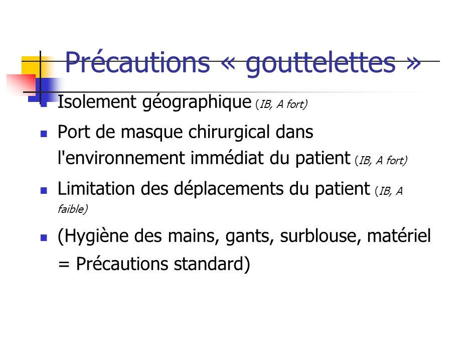 Précautions « gouttelettes »