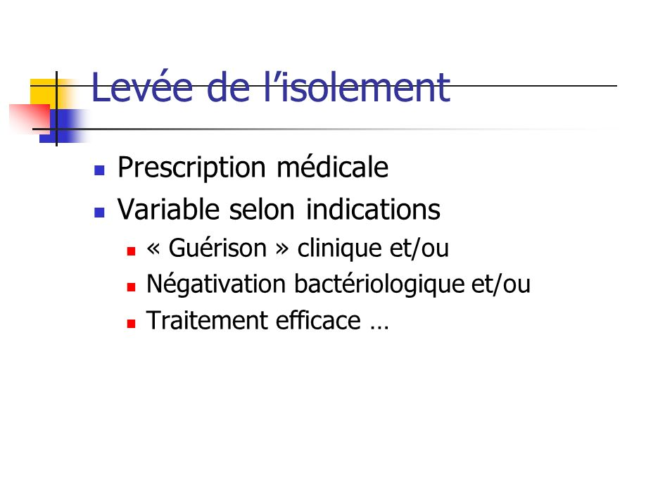 Levée de l'isolement Prescription médicale Variable selon indications