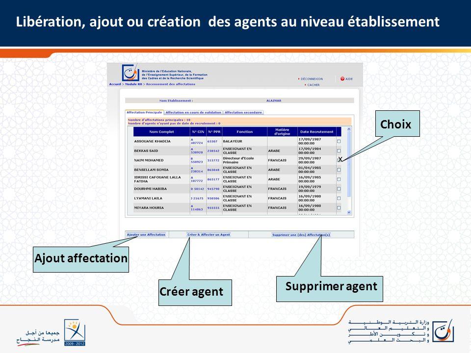 Libération, ajout ou création des agents au niveau établissement