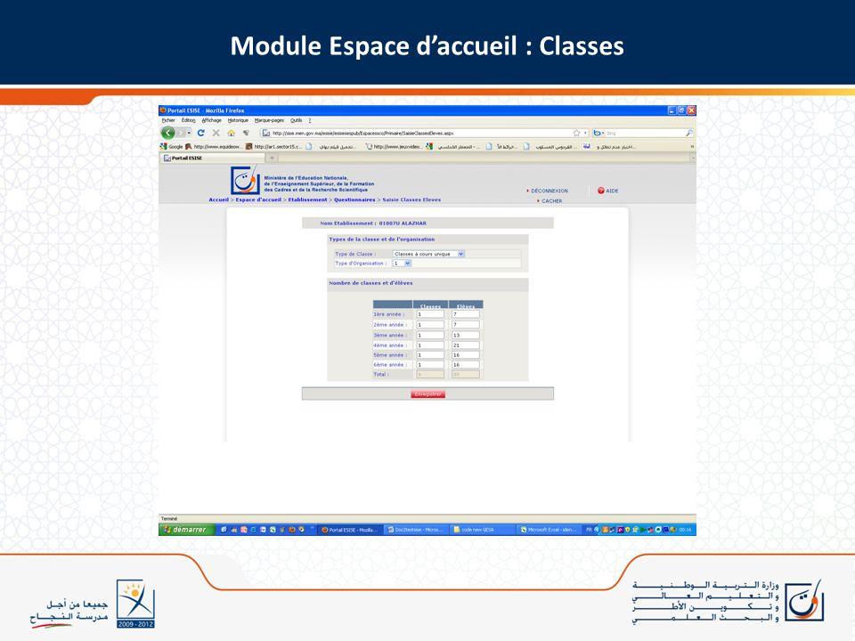 Module Espace d'accueil : Classes