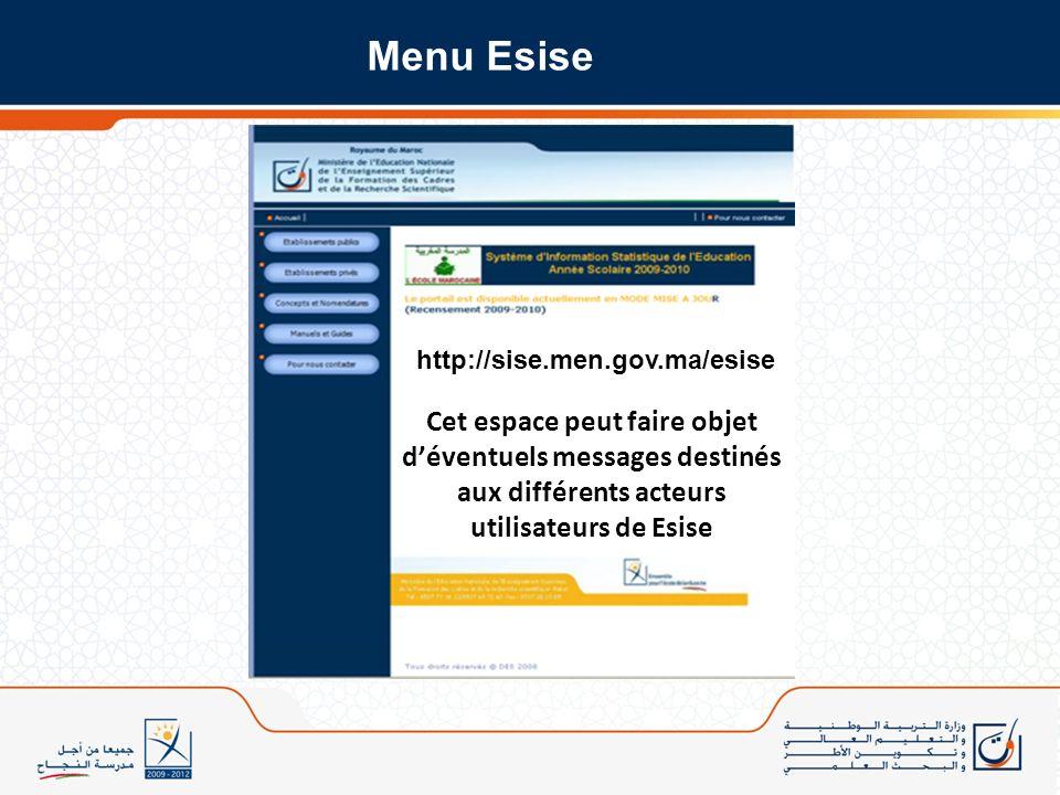 Menu Esise http://sise.men.gov.ma/esise.