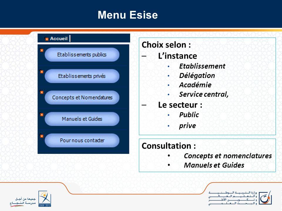 Menu Esise Choix selon : L'instance Le secteur : Consultation :