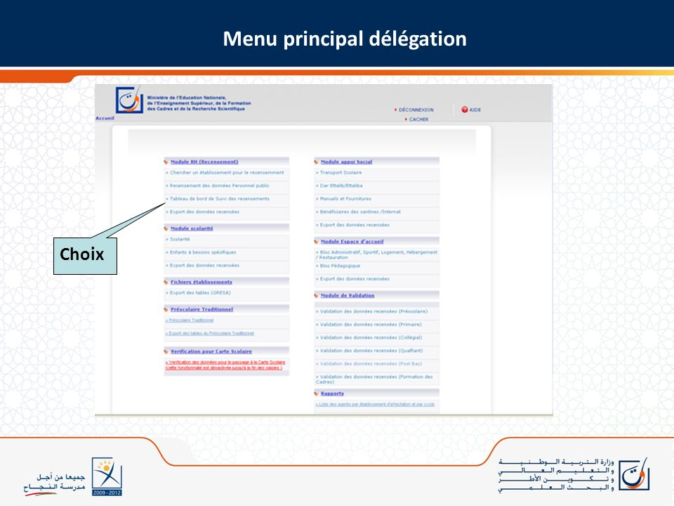Menu principal délégation