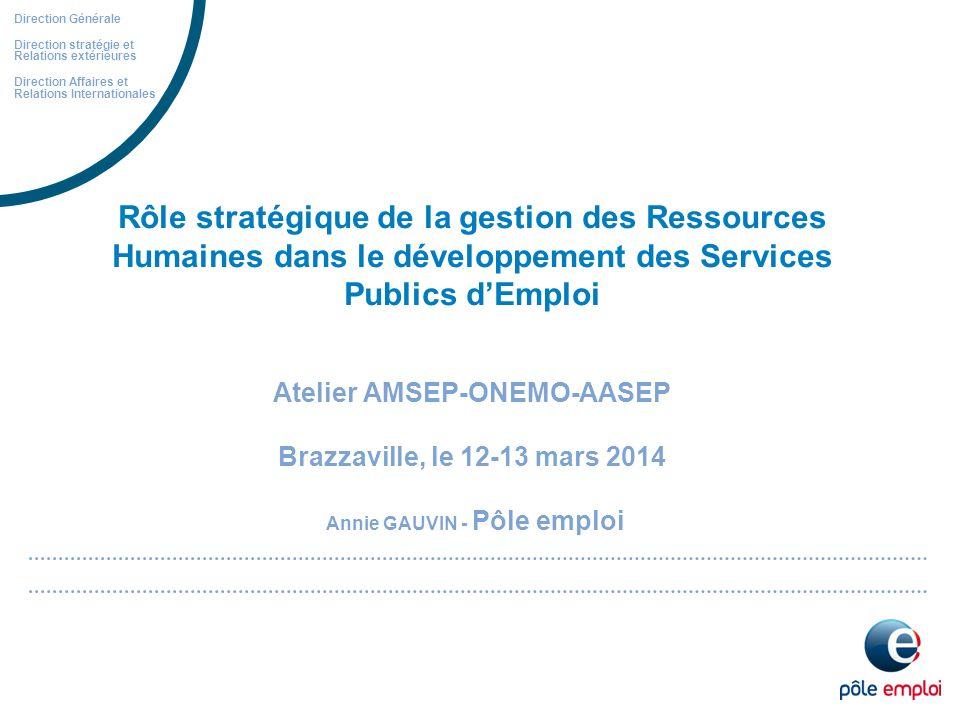 Direction Générale Direction stratégie et Relations extérieures. Direction Affaires et Relations Internationales.