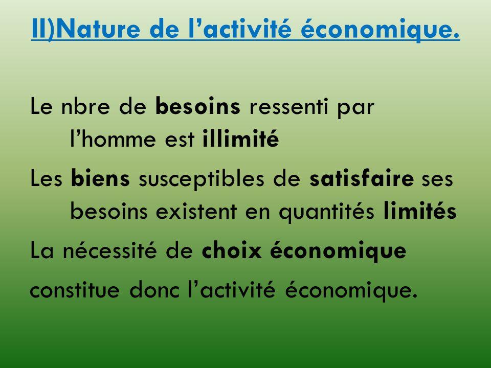 II)Nature de l'activité économique.