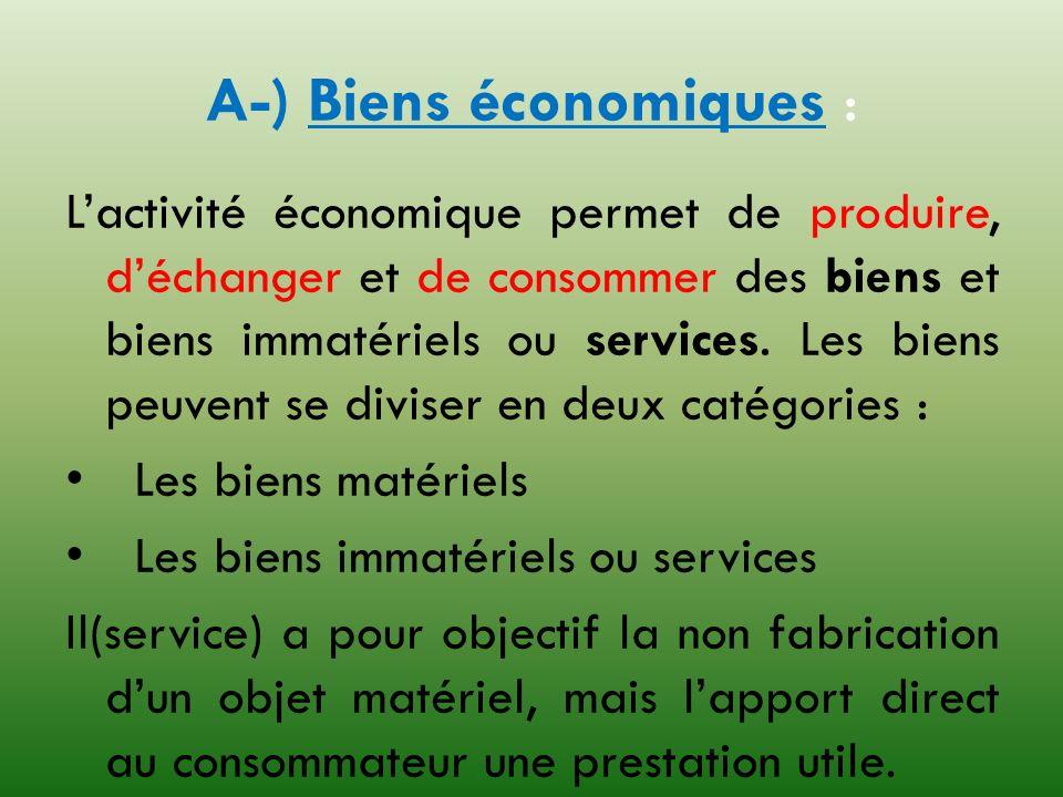 A-) Biens économiques :