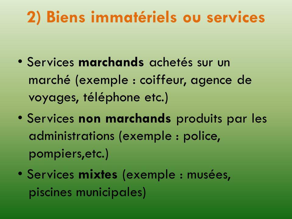 2) Biens immatériels ou services