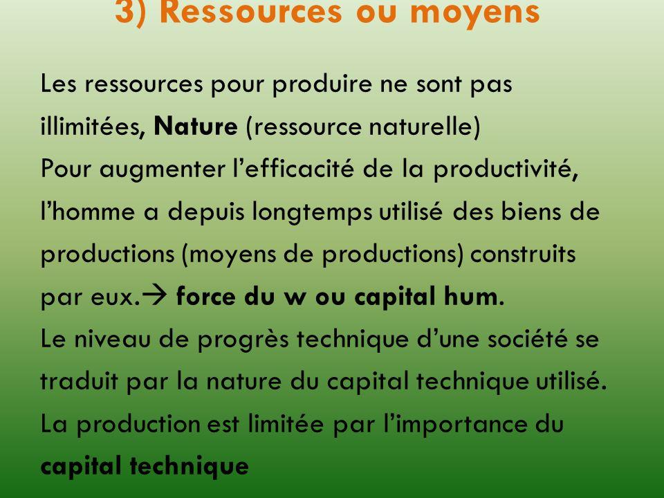 3) Ressources ou moyens